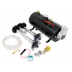Set claxon cu 2 pipe train horn + compresor 3L, 12V, COD: LD10